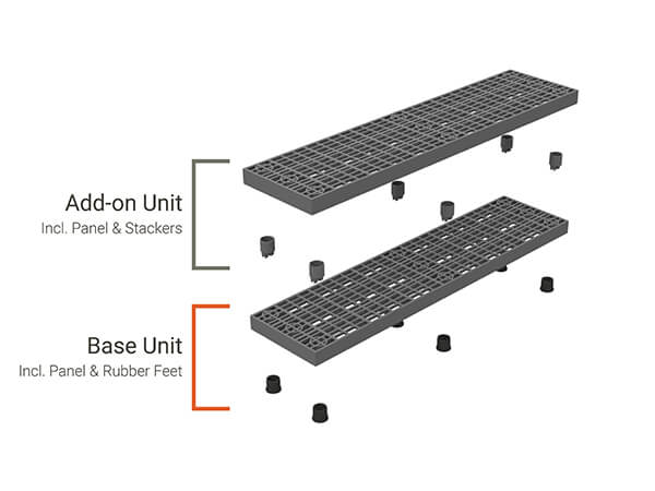 Diagram breaking apart the different pieces that make up an Add-A-Level A6616