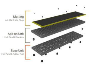 Diagram breaking apart the different pieces that make up an Add-A-Level A9624 with yellow matting