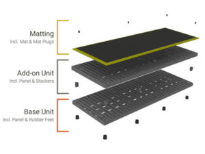 Diagram breaking apart the different pieces that make up an Add-A-Level A9636 with yellow matting.