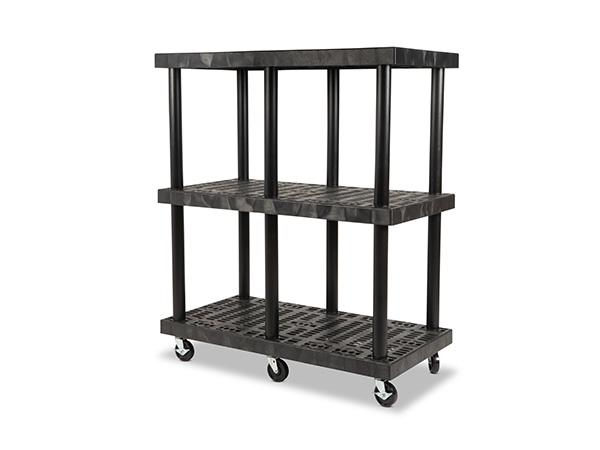 Mobile DuraShelf 48x24 51 3-Shelf System Angle