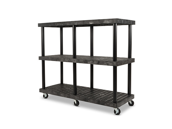 Mobile DuraShelf 66x24 51 3-Shelf System Angle